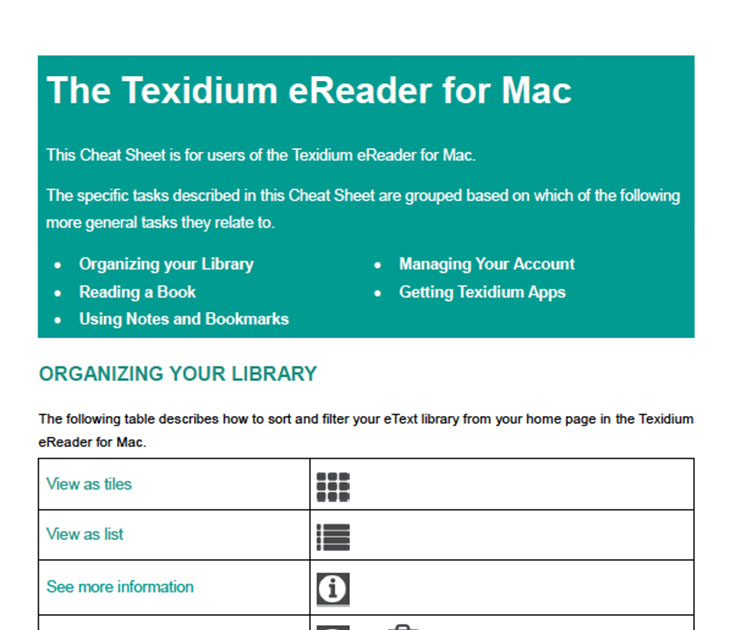 The Texidium eReader for Mac Overview