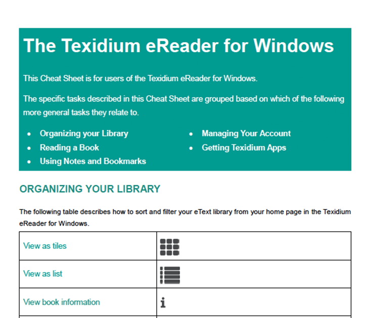 The Texidium eReader for Windows Overview
