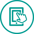 Hand Symbol over Mobile Device Icon