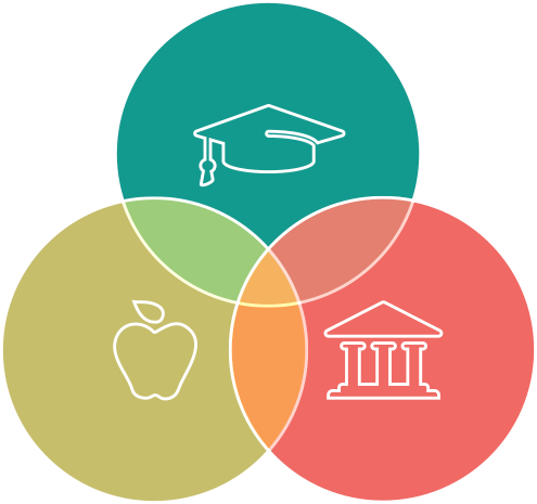 Three Circle Venn Diagram with Students, Institutions, and Teachers