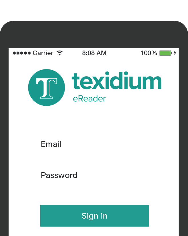 Mobile Device with Texidium eReader Login Prompt