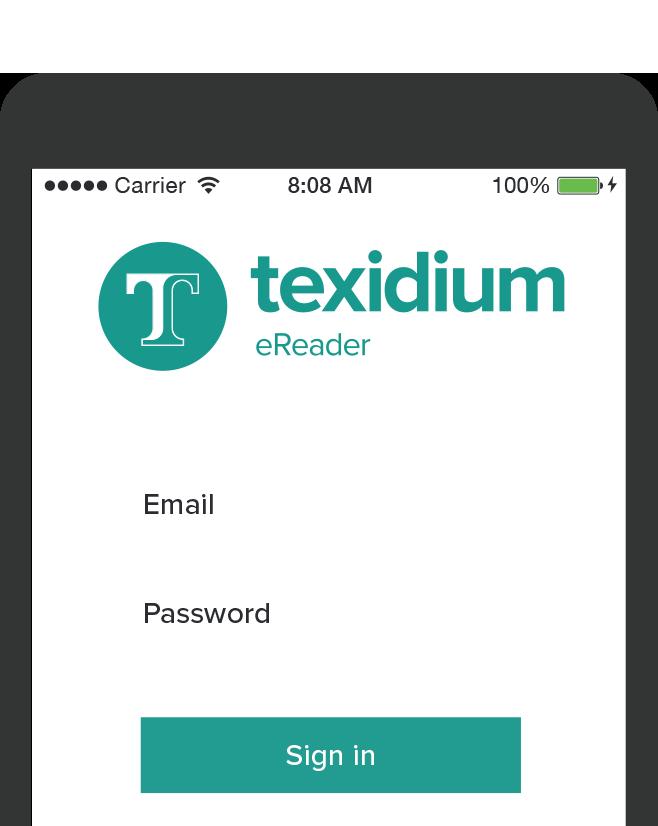 Mobile Device with Texidium eReader Login Prompt