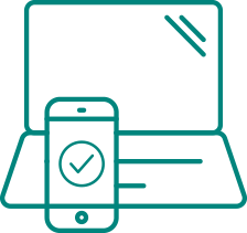 Laptop and mobile device with check mark icon