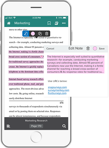 Phone with interactive urls in a Note in the Texidium Reader