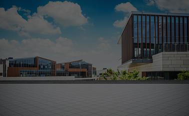 A bright, modern school campus