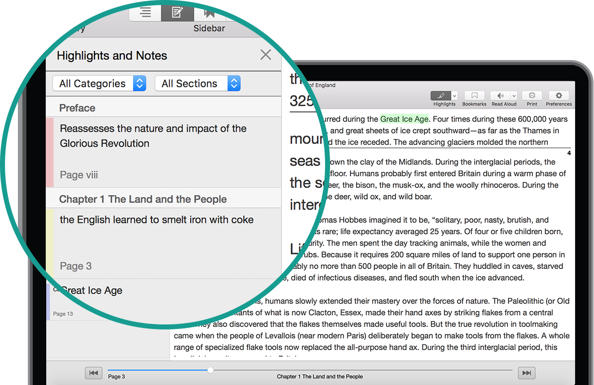 Highlight and Notes Window in Texidium for Mac