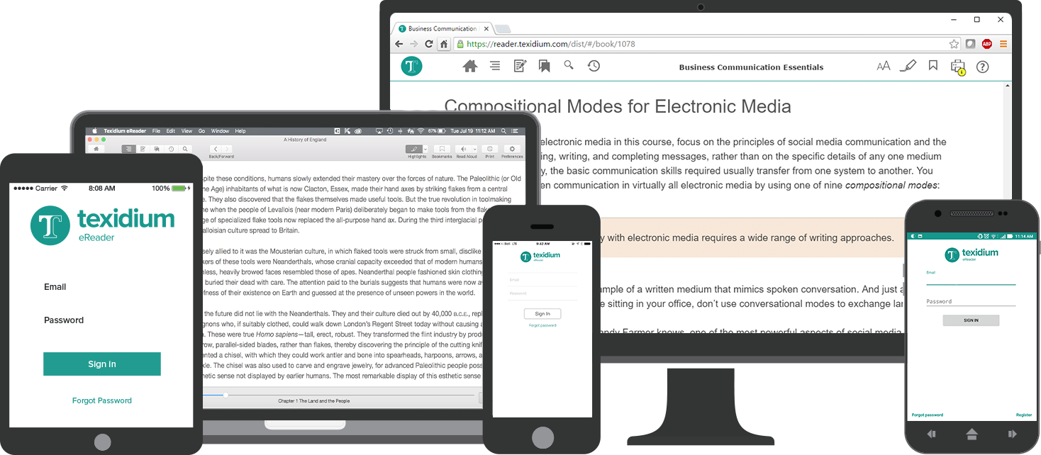 Desktop Monitor, Laptop, and Mobile Devices with Texidium