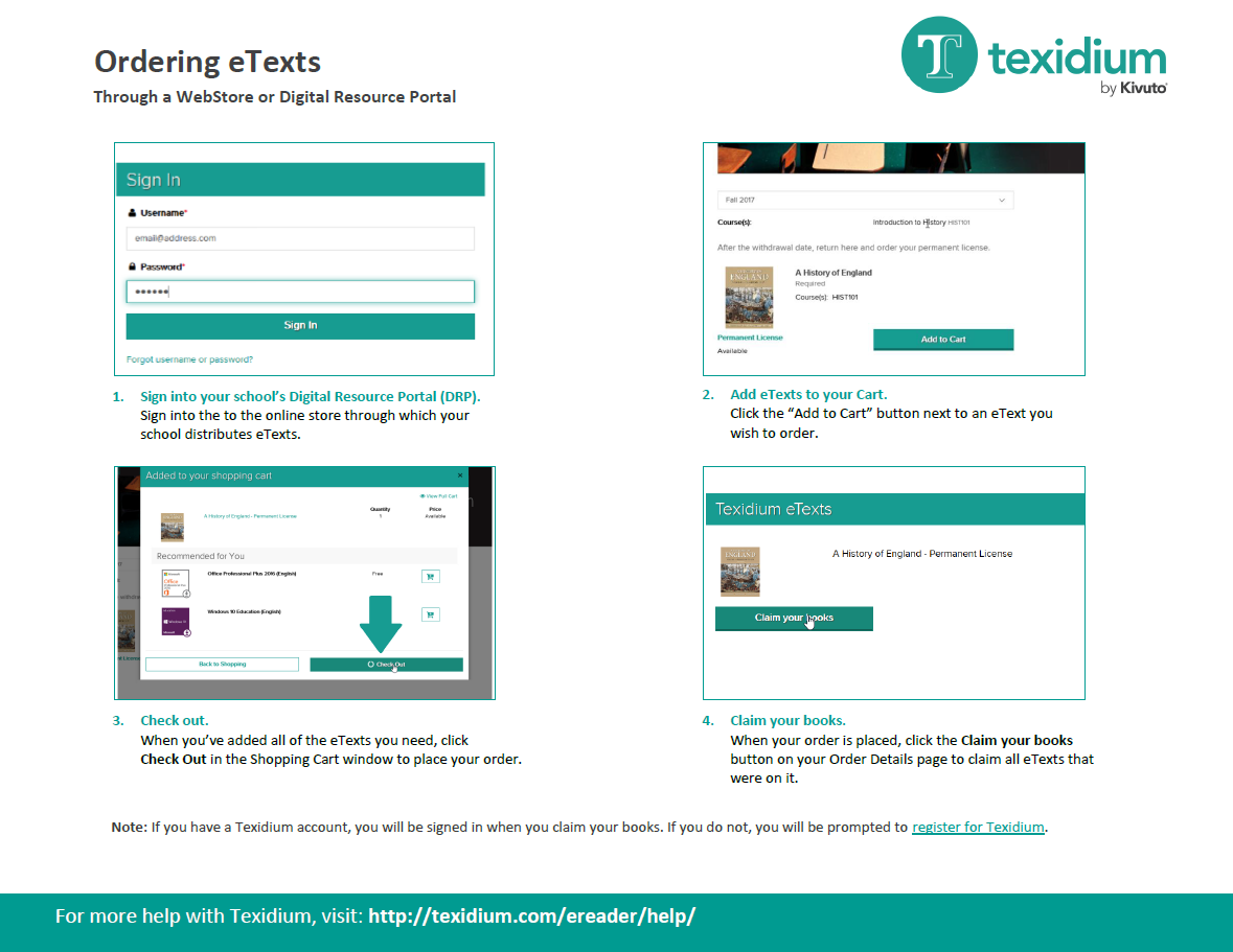 Ordering eTexts Through a WebStore or Digital Resource Portal