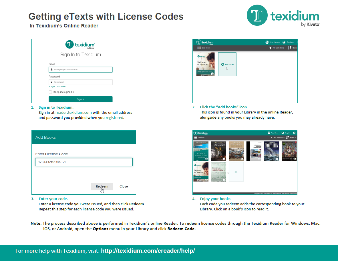 Getting eTexts with License Codes