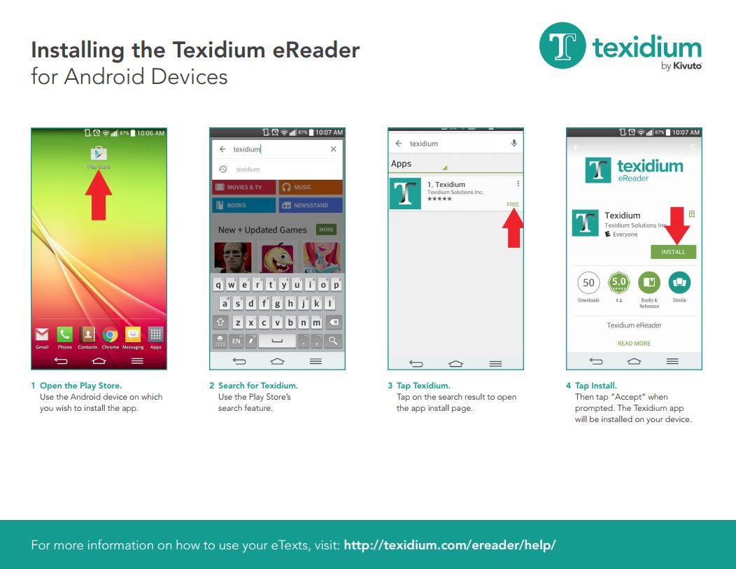 Installing the Texidium eReader for Android Devices