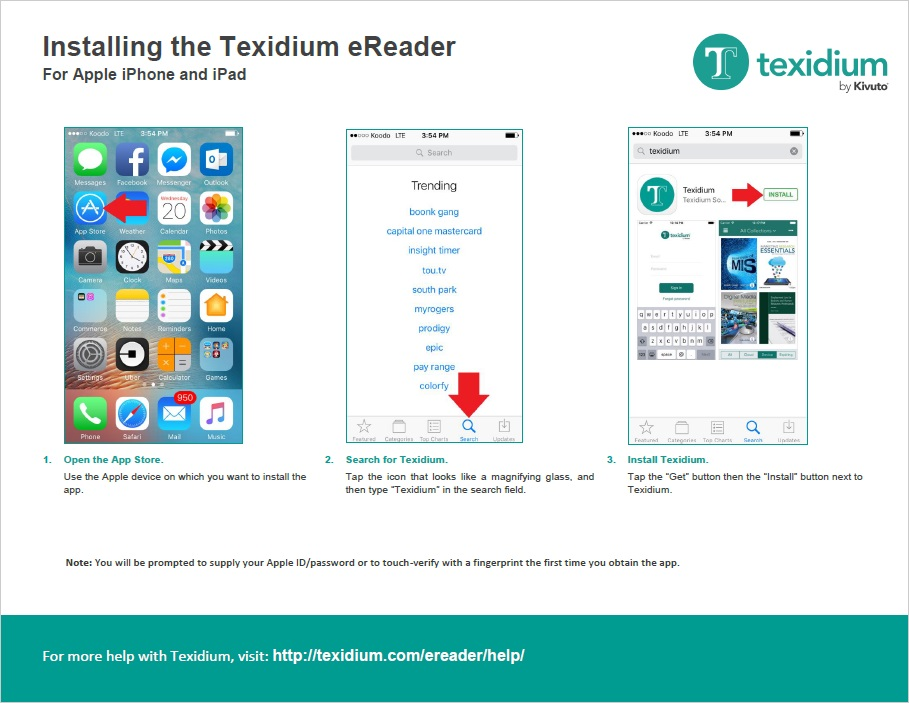 Installing the Texidium eReader for Apple iPhone and iPad