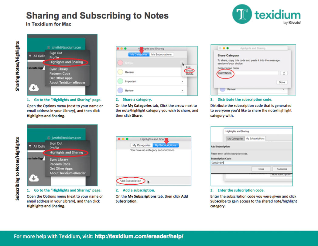 Sharing and Subscribing to Notes in Texidium Mac