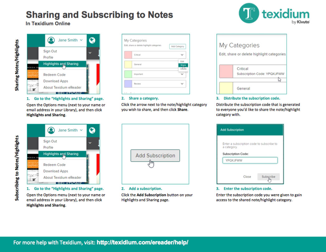 Sharing and Subscribing to Notes in Texidium Online