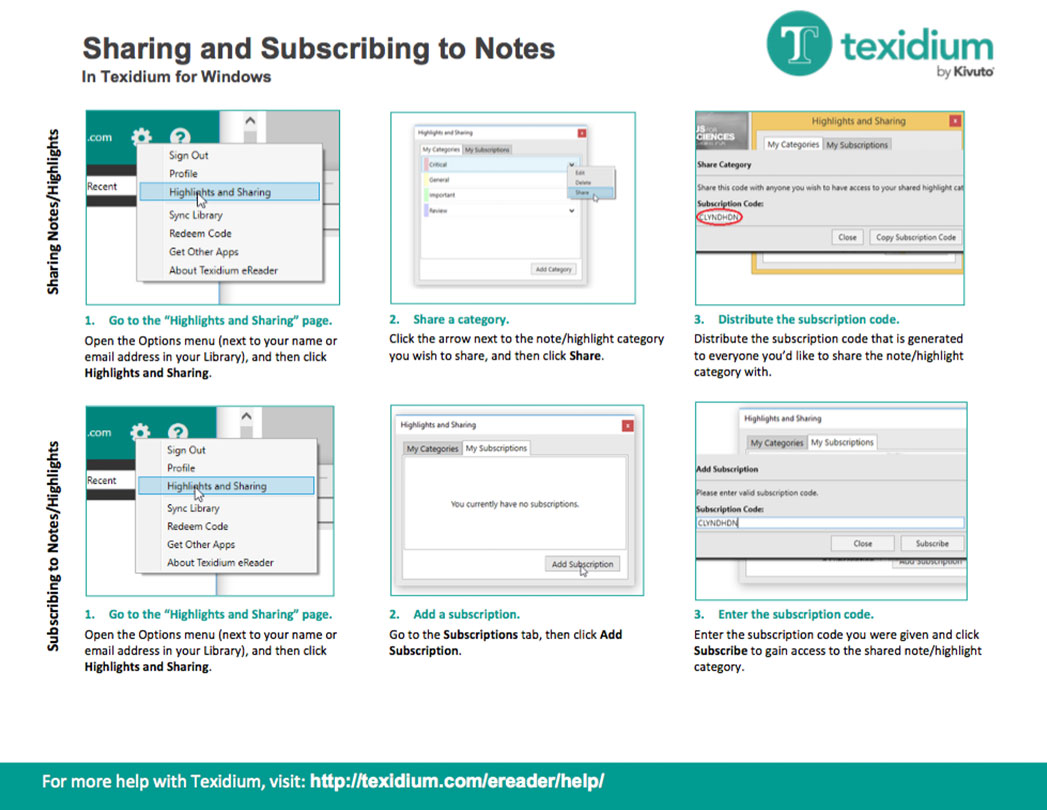 Sharing and Subscribing to Notes in Texidium Windows